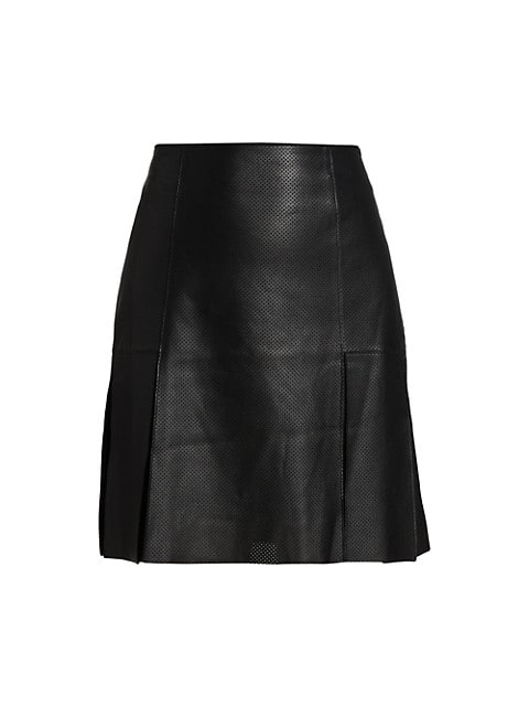 Perforated Leather A-Line Skirt