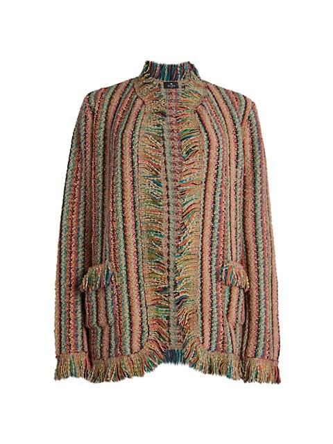 Striped Fringe Wool-Blend Jacket