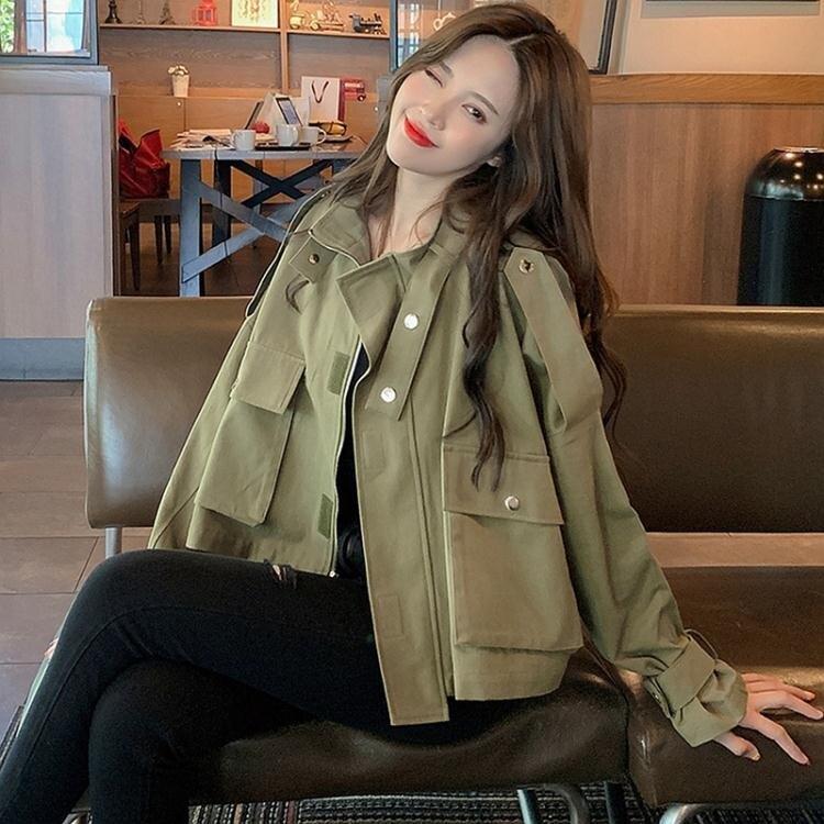 小城故事熱銷-風衣工裝外套女小個子短款風衣年新款春秋季韓版寬鬆流行薄款大衣