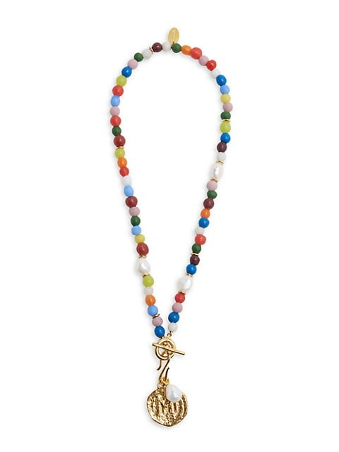 Confetti Coin 18K Goldplated, 8-9MM Pearl & Multicolor Beaded Pendant Necklace