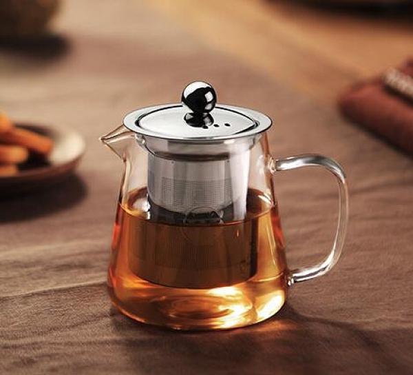 茶壺 功夫茶具玻璃茶壺加厚耐熱泡茶壺不銹鋼304 過濾花茶壺紅茶器水壺【快速出貨八折搶購】