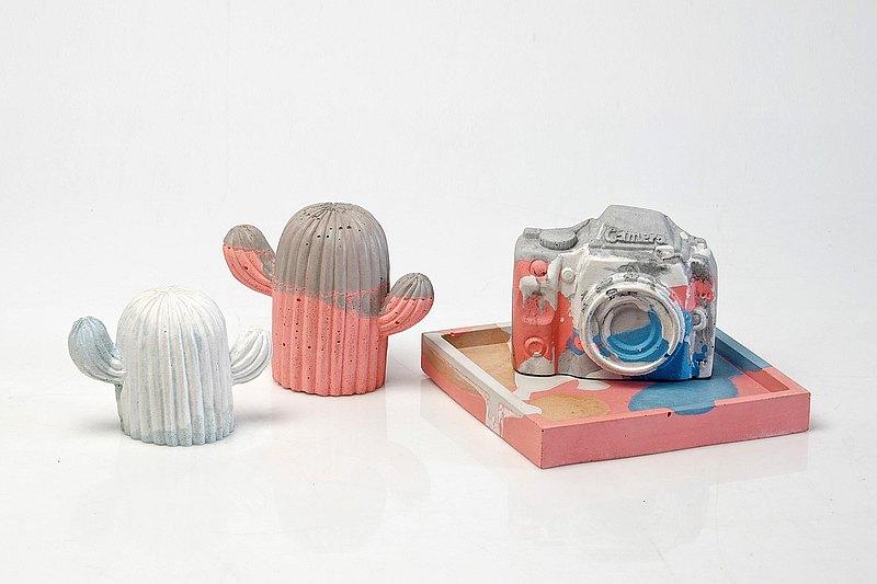 水泥仙人掌、相機擺飾、杯墊托盤