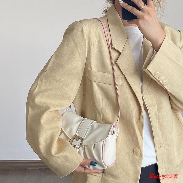 水餃包 法式褶皺云朵餃子包包2020新款潮女包撞色小包斜背單肩腋下法棍包
