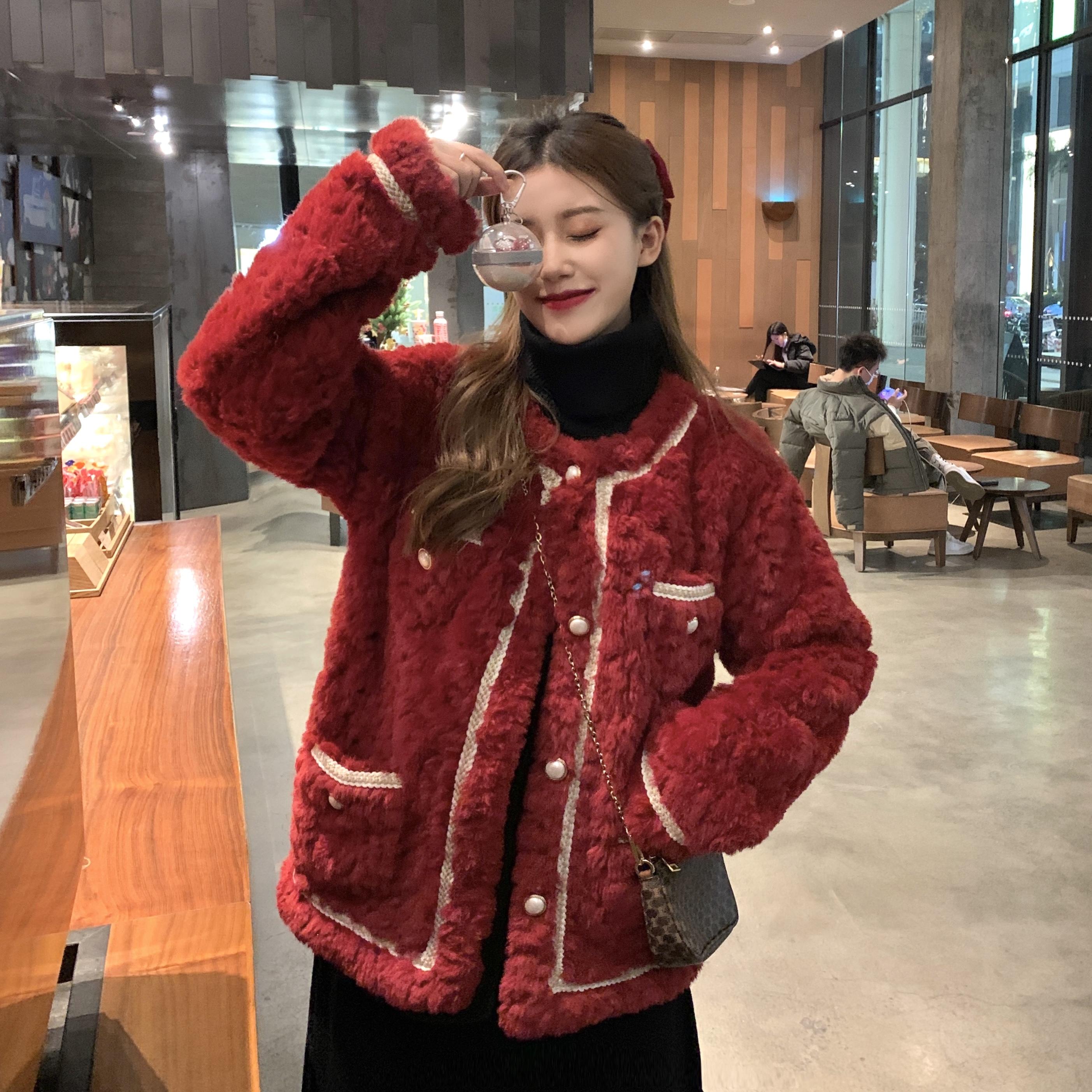 新年戰袍紅色羊羔絨外套 178257韓系溫柔金絲編織皮毛一體開衫