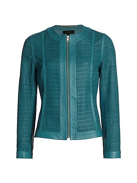 Lopeza Basketweave Leather Zip Jacket