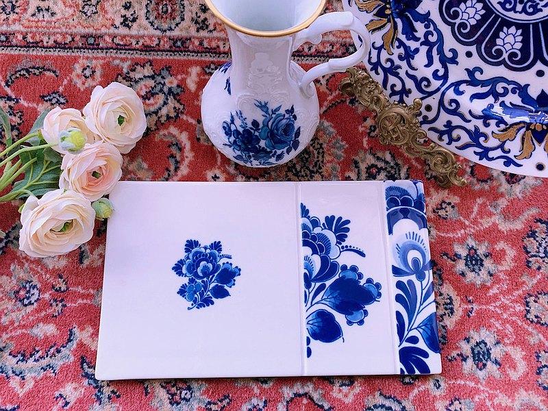 荷蘭製 Delft Blue 手繪花卉骨瓷盤 托盤 餐盤 庫存品含原裝盒