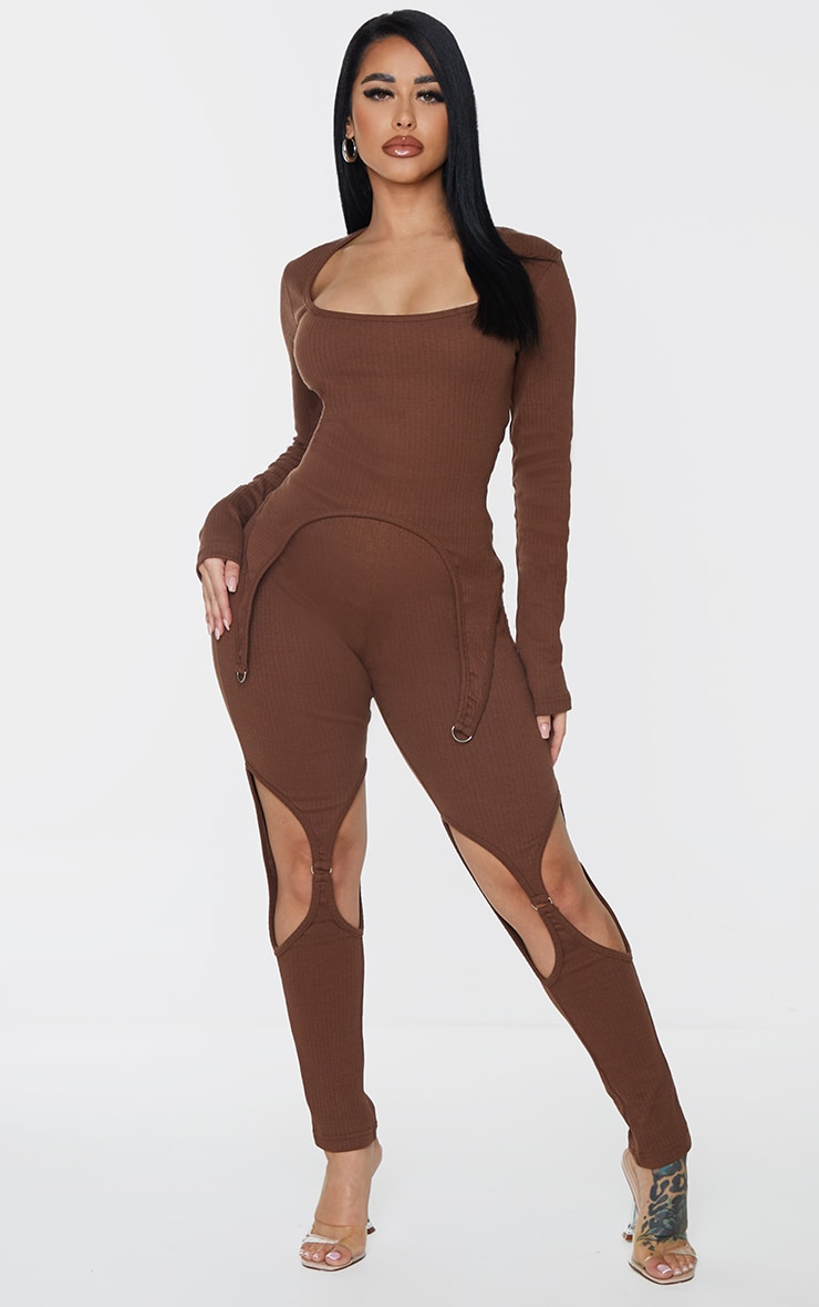 Shape Chocolate Brown Thick Rib Buckle Detail Cut Out Leggings