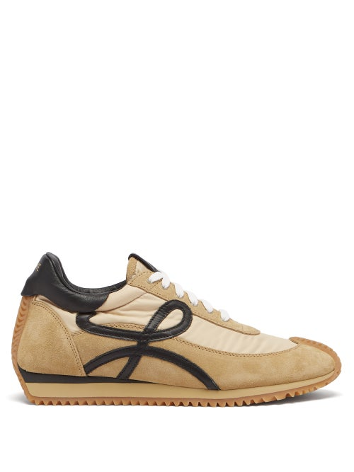 Loewe - Flow Runner Shell And Suede Trainers - Mens - Black Gold