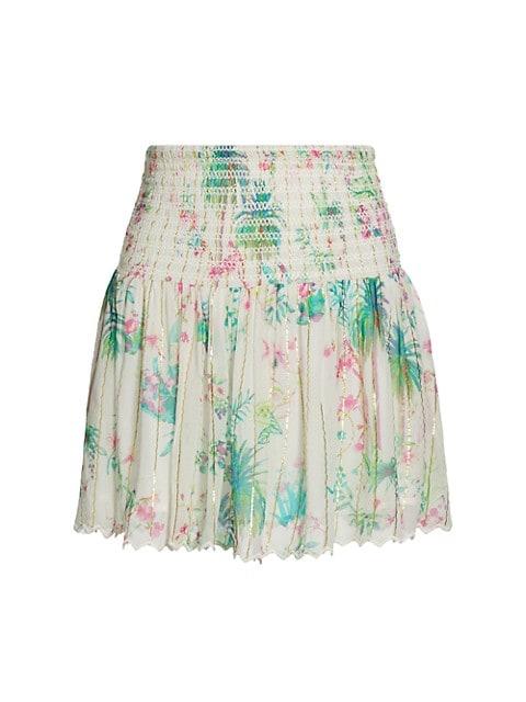 Floral Shirred Mini Skirt