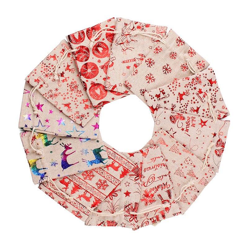 聖誕燙金系列棉麻束口袋 旅行收納袋 禮物袋 聖誕 耶誕 裝飾【BlueCat】【RXM0487】