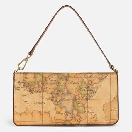 Alviero Martini 義大利地圖包 手提肩揹腋下包-地圖黃