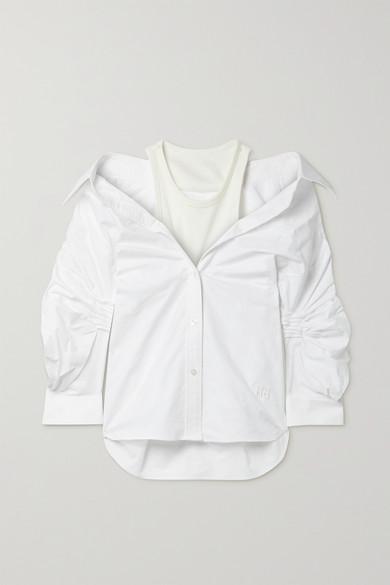 alexanderwang.t - 分层式褶饰纯棉牛津纺弹力平纹布衬衫 - 白色 - US6