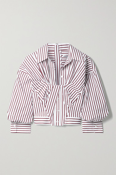 Alexander Wang - 缩褶条纹纯棉府绸短款衬衫 - 白色 - US0