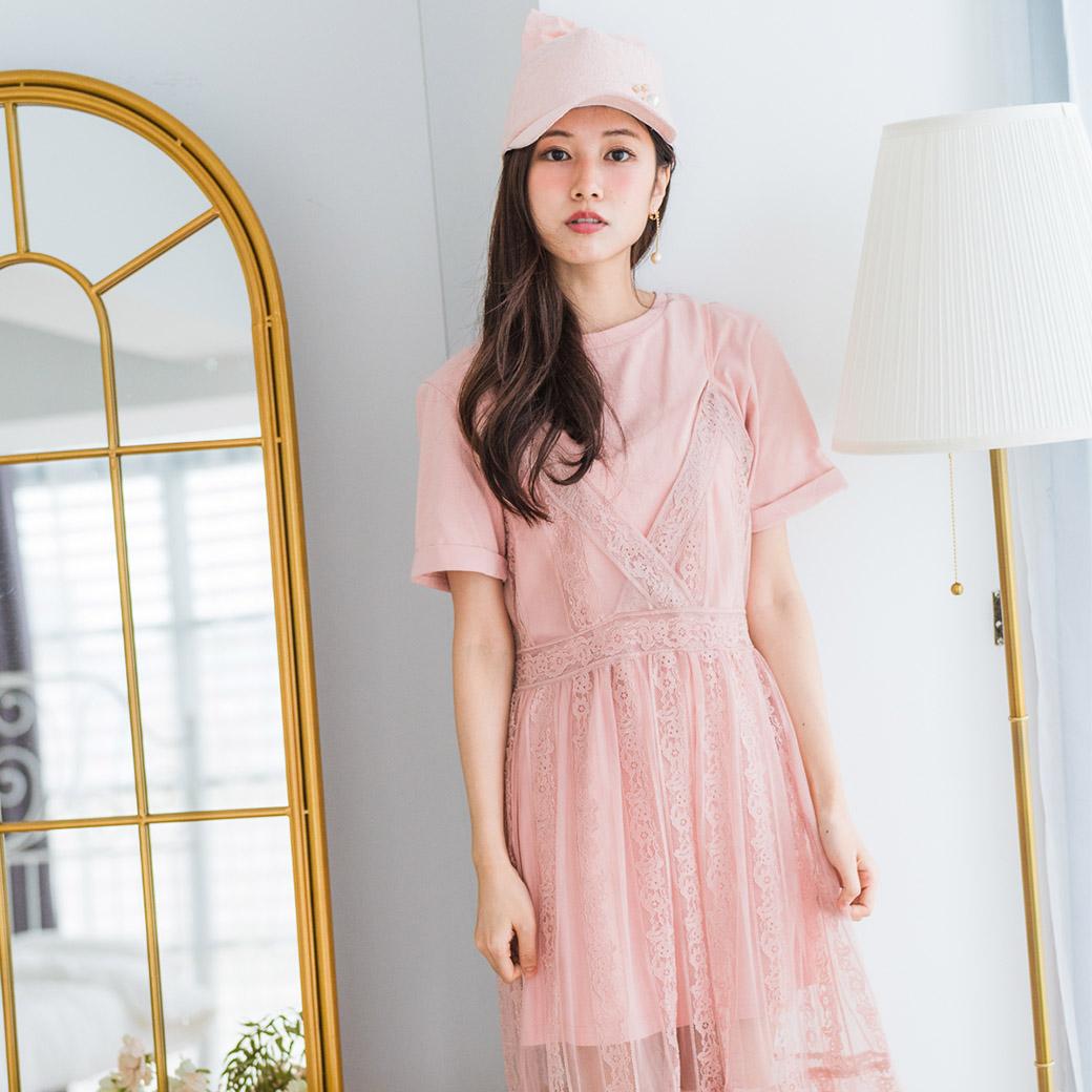 CSET180908 素色棉T+蕾絲洋裝套組/二色(總監私服清單/粉/紫)