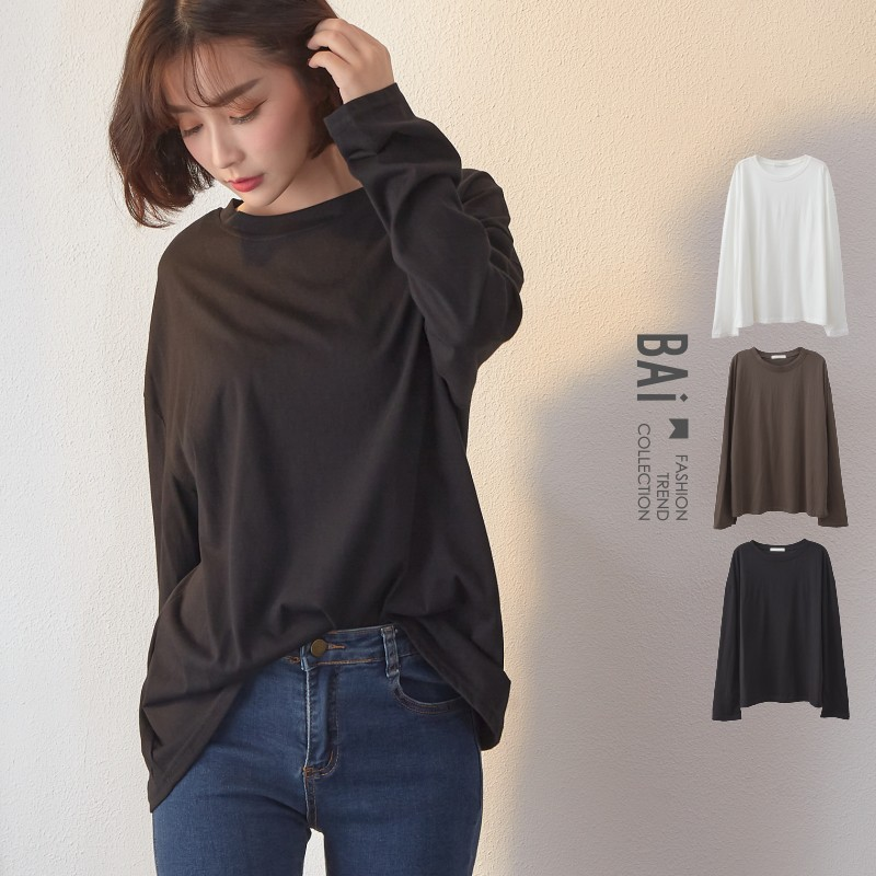 T恤 類天絲棉質料純色寬鬆落肩長袖上衣-BAi白媽媽【301897】