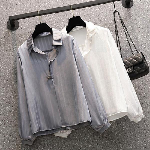 長袖襯衫大尺碼雪紡衫M-4XL年春季新款長袖襯衫女 6679MR26依佳衣