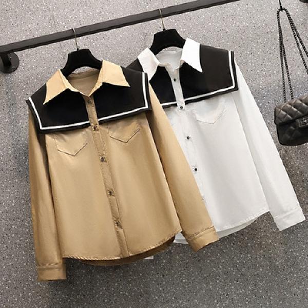 長袖襯衫大尺碼雪紡衫M-4XL春季新款大碼襯衫 6605MR26依佳衣