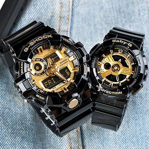 【2.14情人錶 下單抽・富士山杯】G-SHOCK x BABY-G 黑金戀曲運動情人對錶/黑金x黑金 GA-710GB-1ADR+BA-110-1ADR 情侶對錶 樹脂錶帶 熱賣中!