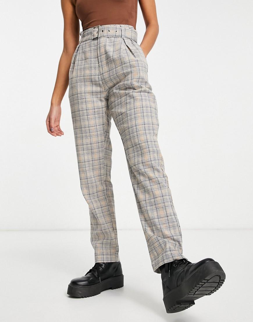 Heartbreak belted tailored trousers in mustard check-Multi