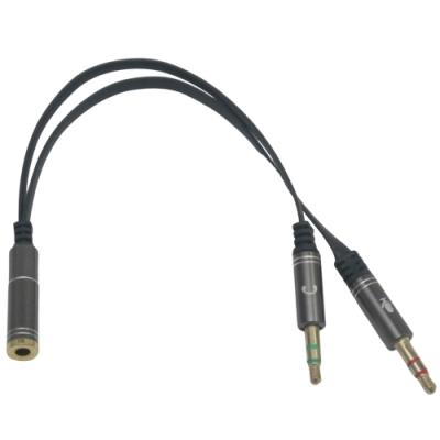 月陽鍍金1母轉2公耳機加麥克風一分二音源轉接線分接線(CB2M1F)