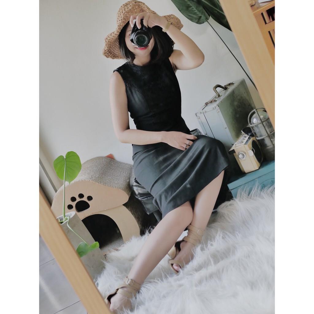 河水山 - 東京純黑蕾絲拼接立體剪裁 古董連身長裙洋裝 dress