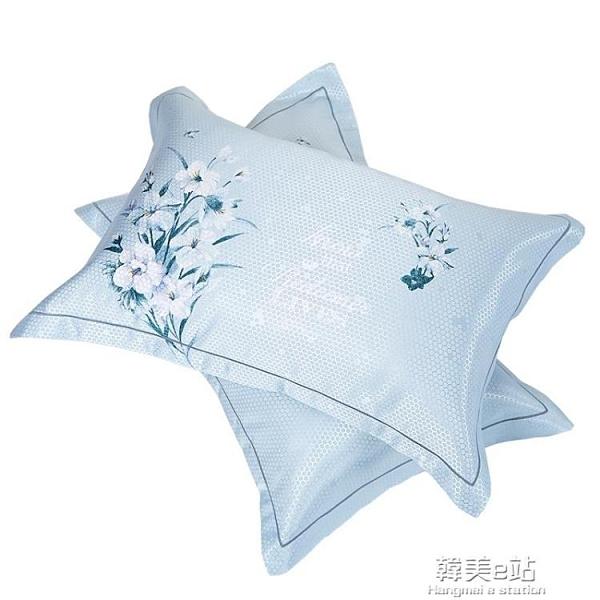 枕頭套 夏季夏天雙面冰絲涼爽透氣涼席枕頭套枕套忱頭外套枕席冰涼一對裝
