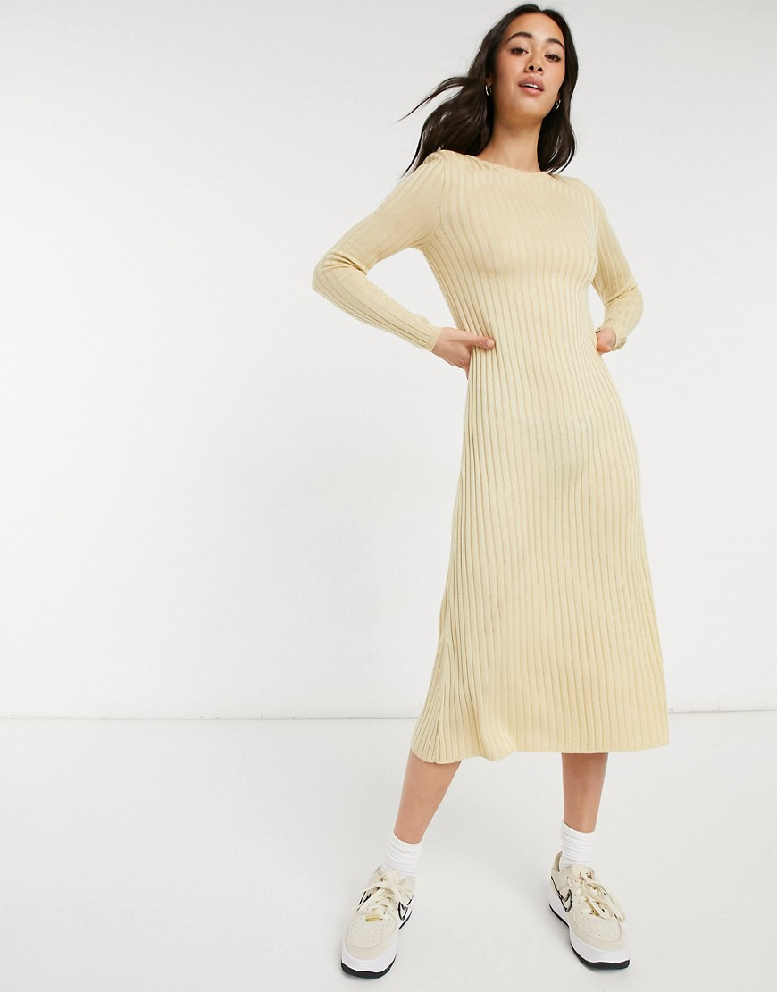 ASOS DESIGN ribbed maxi dress with shoulder pads and relaxed hem-Beige