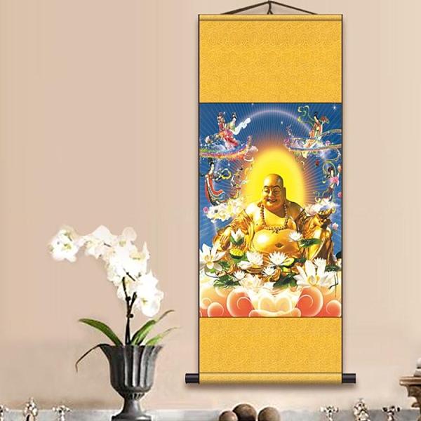 掛畫 彌勒佛畫像卷軸畫彌勒歡喜圖絲綢畫大肚布袋笑佛掛畫辦公室裝飾畫 新年禮物