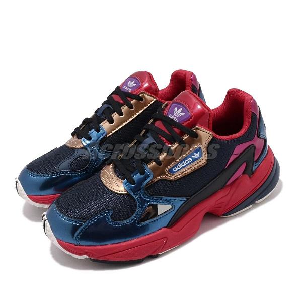 【海外限定】 adidas 休閒鞋 Falcon W 藍 紅 女鞋 老爹鞋 運動鞋 【ACS】 CG6632