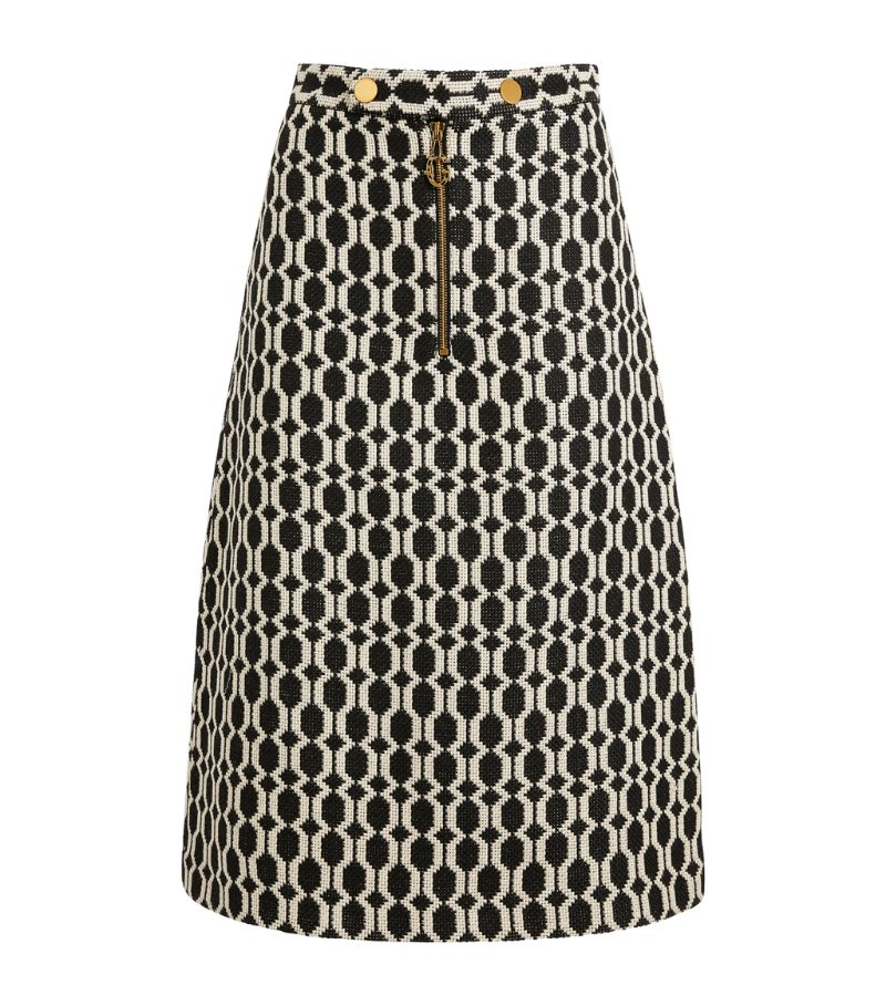 Gucci Optical Tweed Midi Skirt