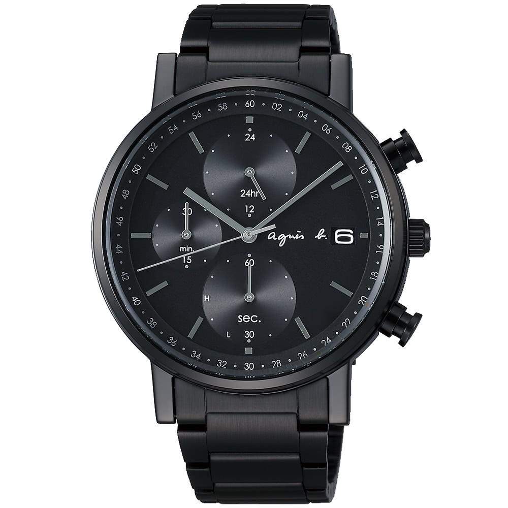 【agnes b】太陽能 鋼錶帶 三眼計時男錶 BZ6004P1 VR43-KSG0SD 黑 41mm 耶誕節限定 台南