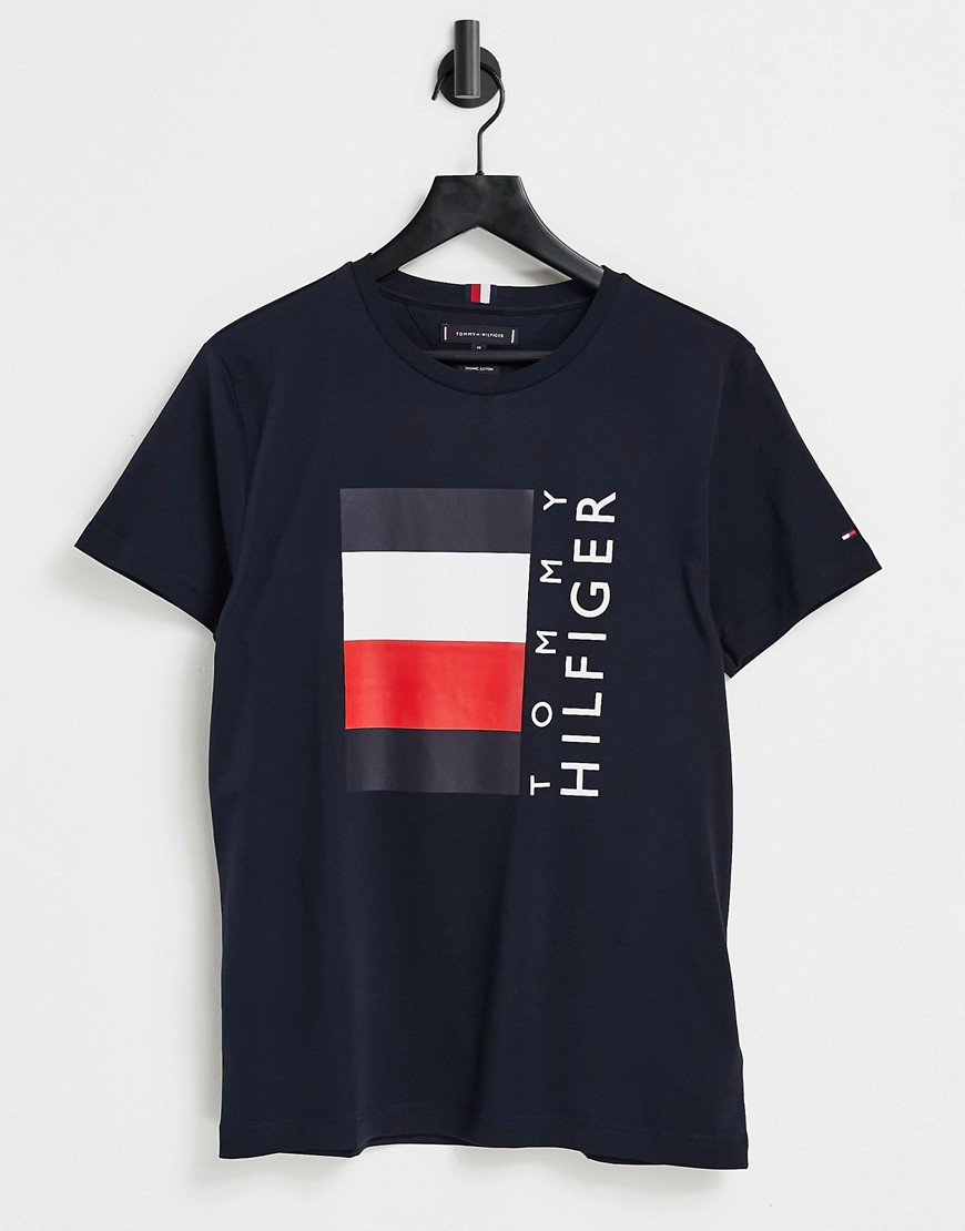 Tommy Hilfiger corp stripe box logo t-shirt in navy