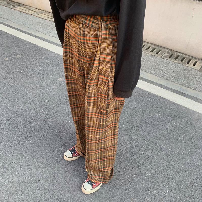 40325 百搭復古格紋寬褲 新款韓版休閒褲長褲格子褲 帶腰帶