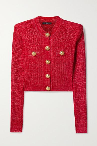 Balmain - 纽扣缀饰金属感提花针织开襟衫 - 红色 - FR36