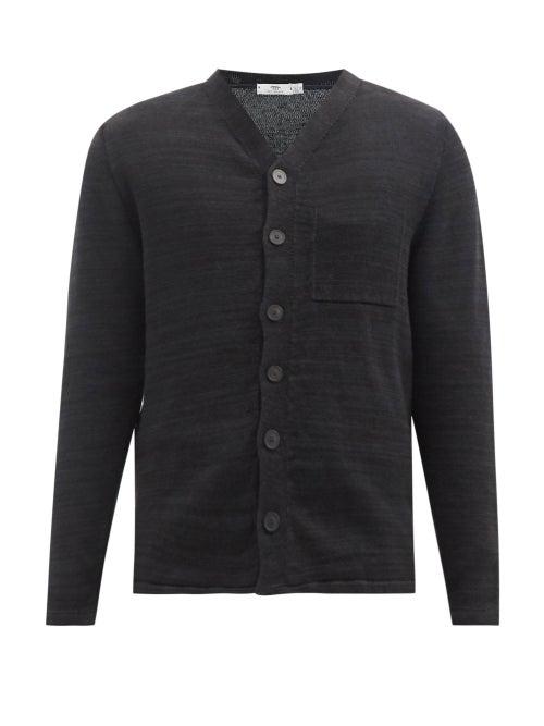 Inis Meáin - V-neck Linen Cardigan - Mens - Black