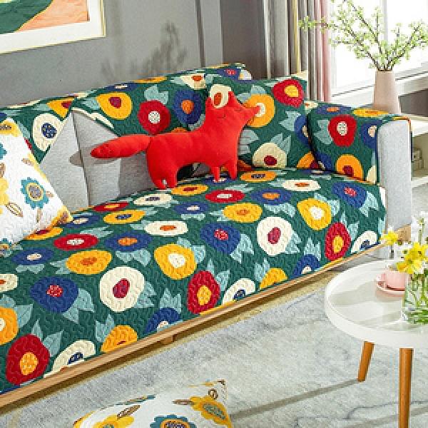 【新作部屋】100%純棉撞色設計風防滑沙發墊-二人坐墊70*150花飛舞/墨綠