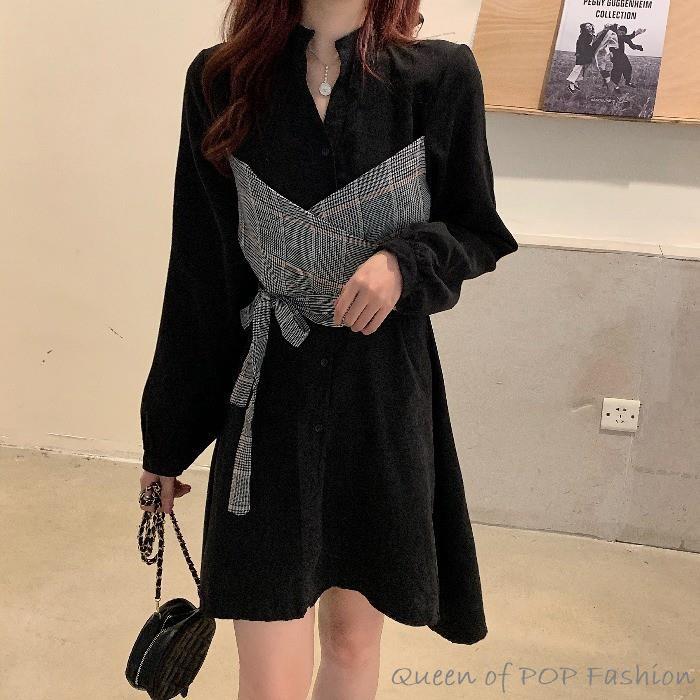 長袖洋裝 法式洋裝 復古洋裝 氣質洋裝 秋季新款韓版法式復古裙氣質收腰假兩件格子拼接長袖連衣裙女