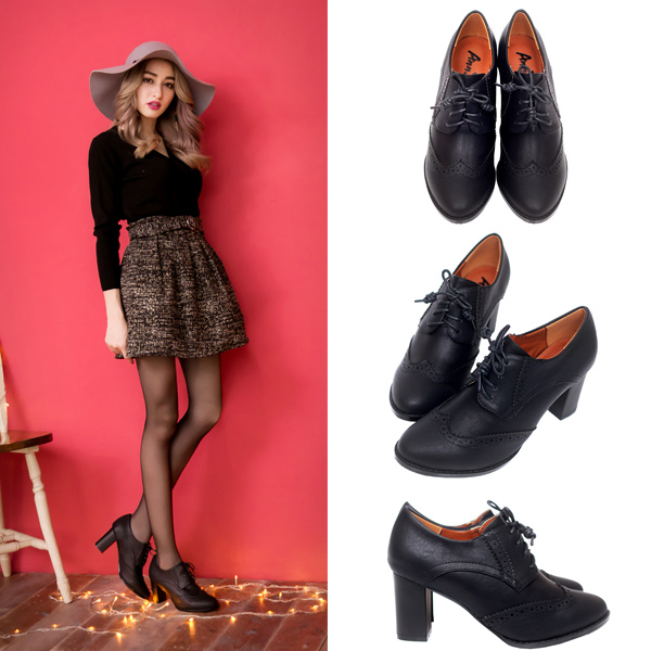 【低溫警報靴款最高現折$400】Ann'S英倫甜心-綁帶牛津雕花粗跟踝靴-黑