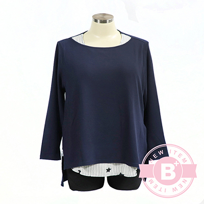 加大尺碼02-B60812假二件造型衫-丈青