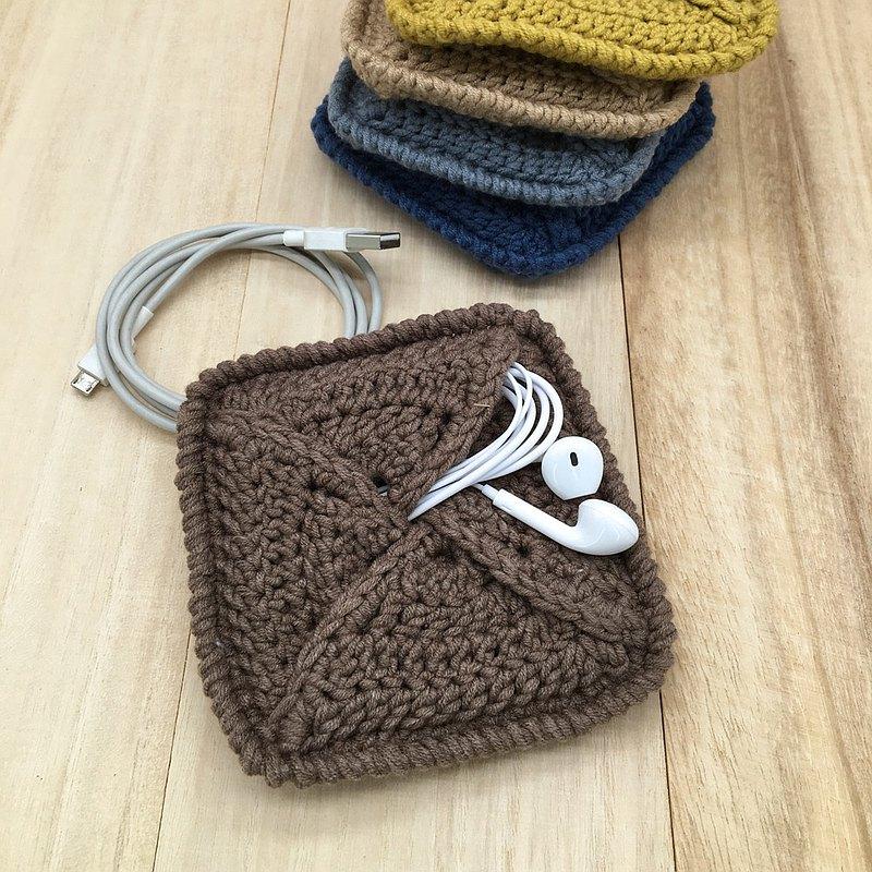 棕色個人手袋-棉線製成的手鉤針多功能迷你手袋
