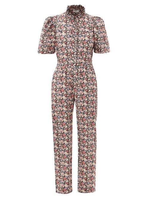 Sea - Leslie Floral-print Cotton-poplin Jumpsuit - Womens - Black