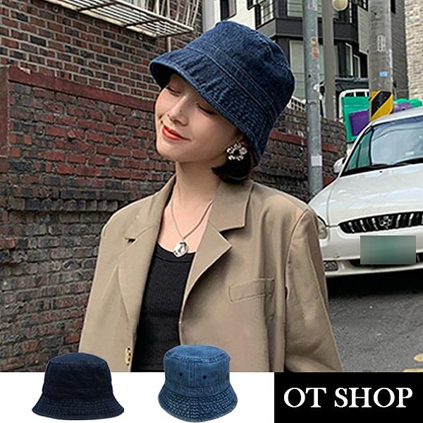 OT SHOP [現貨] 帽子 水洗牛仔漁夫帽 遮陽帽 盆帽 簡約休閒百搭 日韓系文青配件 深/淺牛仔藍 C2168