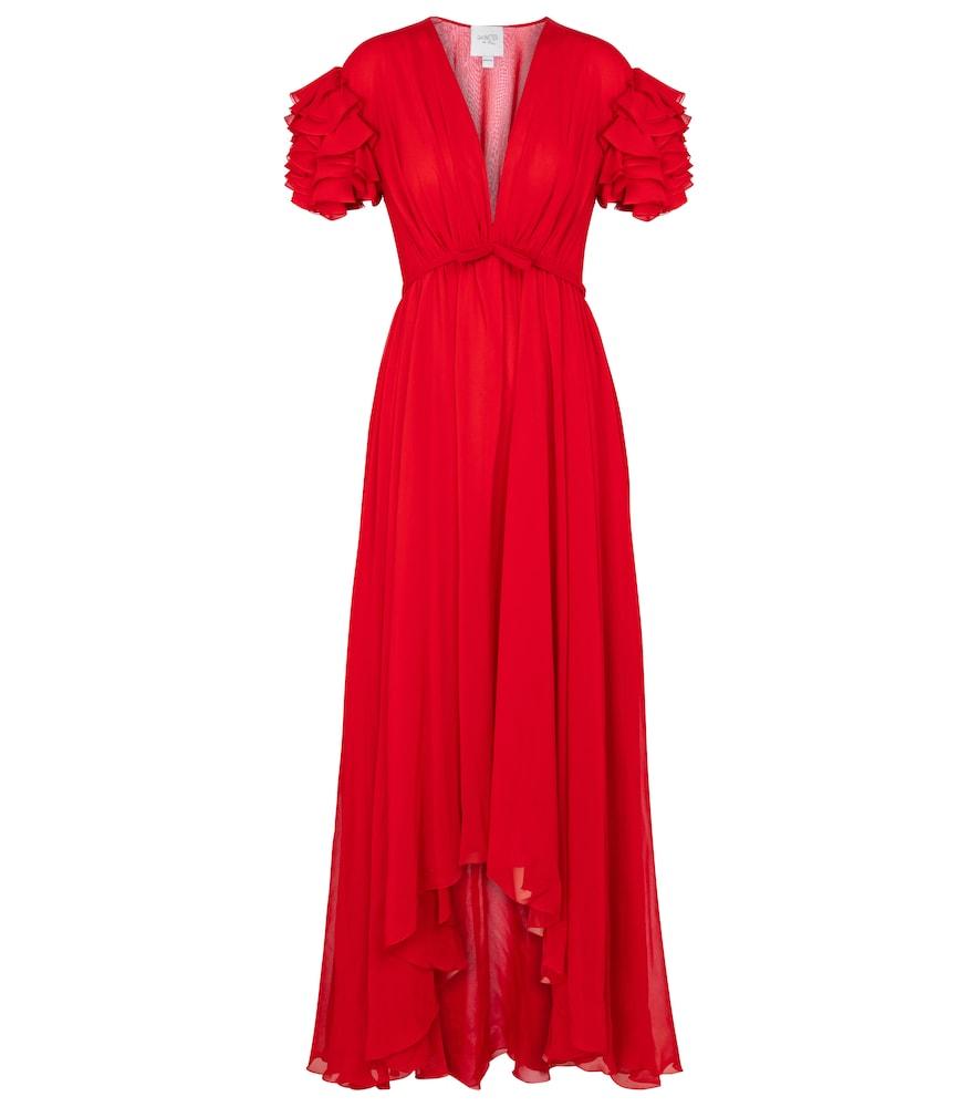 Ruffled silk crêpe gown