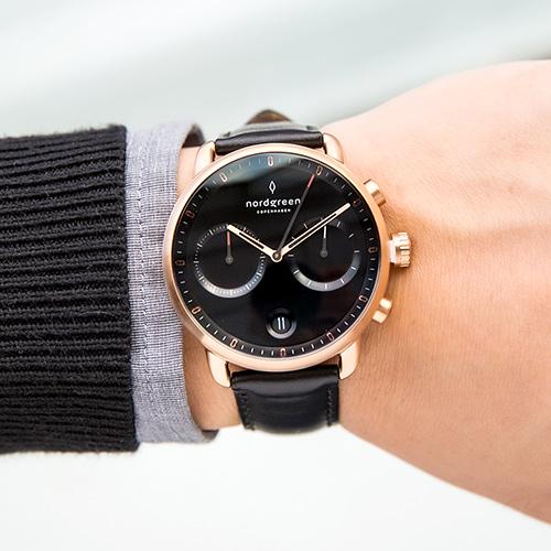 【簡約之美・贈原廠帶乙條】現貨 ND手錶 Pioneer 先鋒 42mm 玫瑰金殼×黑面 極夜黑真皮錶帶 Nordgreen 北歐設計師手錶 計時碼錶 PI42RGLEBLBL 熱賣中!