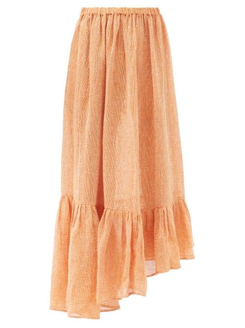 Lisa Marie Fernandez - Nicole Gathered Asymmetric Linen-blend Skirt - Womens - Orange