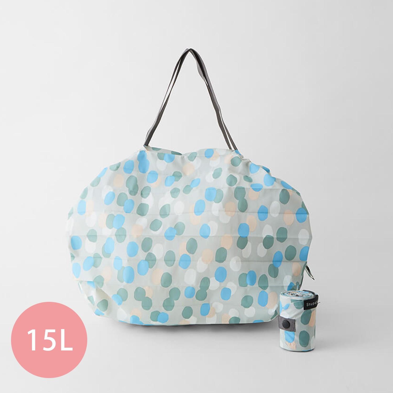日本 MARNA - Shupatto 秒收摺疊購物袋-五週年限定升級款-北歐雨點 (M(30x35cm))-耐重5kg / 15L