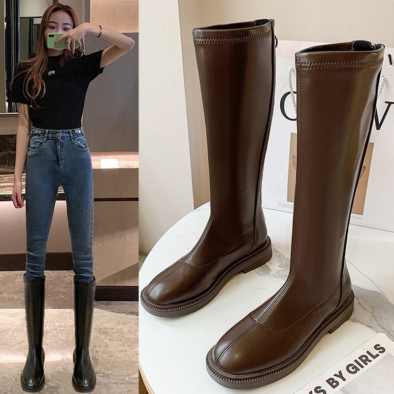 膝下靴 長筒靴女2020秋冬彈力靴粗跟方頭及膝靴高筒不過膝騎士靴子女