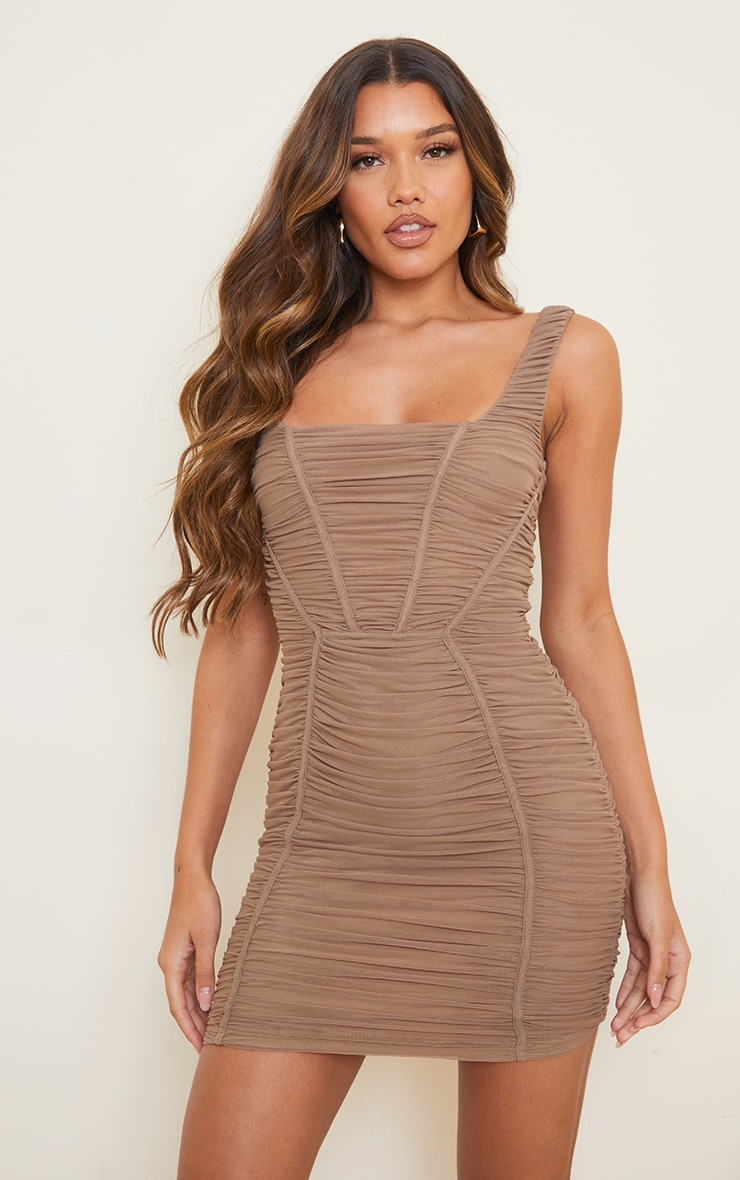 Taupe Square Neck Mesh Ruched Binding Detail Bodycon Dress