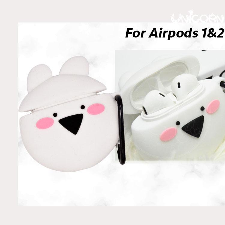 激動的小白兔大頭 蘋果AirPods1&2代專用 耳機盒保護套 收納套【AP1090112】Unicorn手機殼