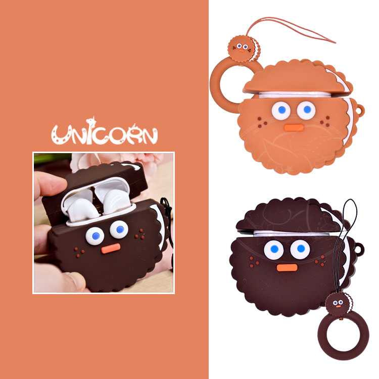 -兩款-圓形巧克力餅乾系列(附小吊飾) 蘋果AirPods專用耳機盒保護套 收納套【AS1080952】Unicorn手機殼